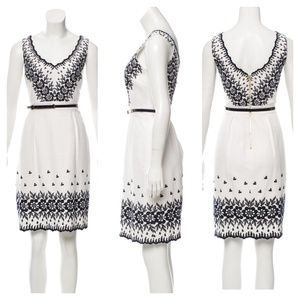 Kate Spade Amy Embroidered Scalloped Dress/ White
